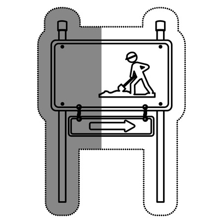 Road sign under construction vector illustration design