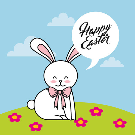 cute rabbit character easter season vector illustration design