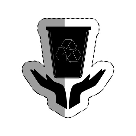 hands human with recycle bin vector illustration design