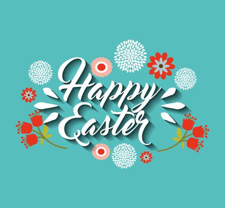 easter message: happy easter season card vector illustration design