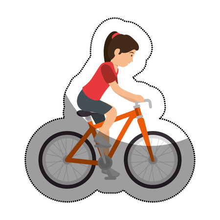 woman athlete in bicycle avatar character vector illustration design Illustration