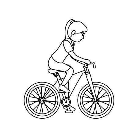 atleta mujer en diseño de ilustración de vector de personaje de avatar de bicicleta Ilustración de vector