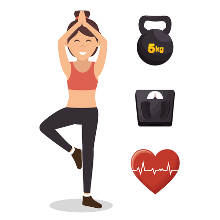 fitness lifestyle elements icons vector illustration design