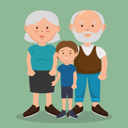 Cartoon illustration of a grandparents and grandson avatars characters vector illustration design. Illustration
