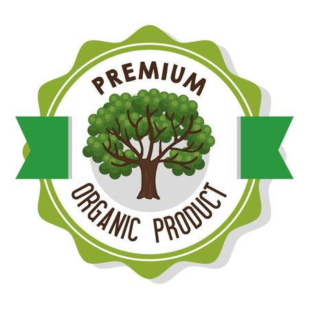Organic product guaranteed seal vector illustration design.