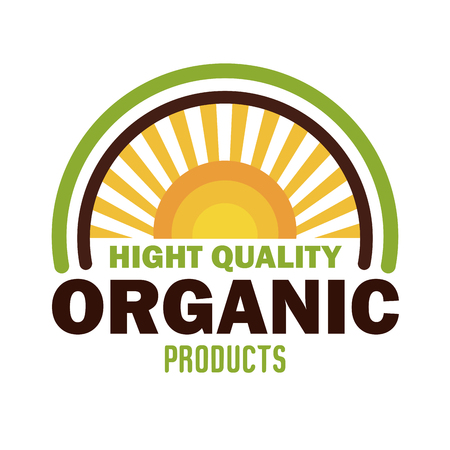 Colorful organic product guaranteed seal vector illustration design.