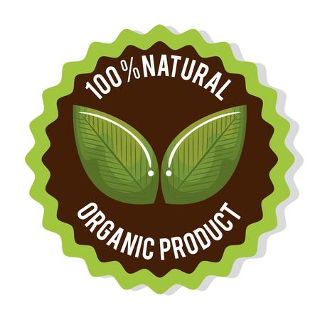 Green organic product guaranteed seal vector illustration design. Illustration