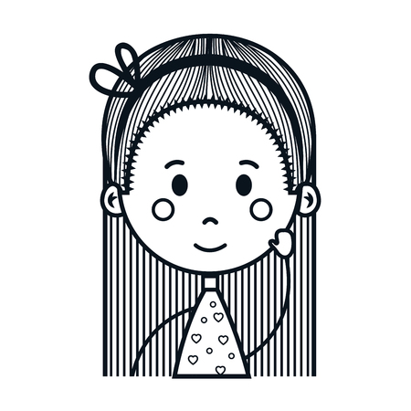 cute little girl drawing character vector illustration design