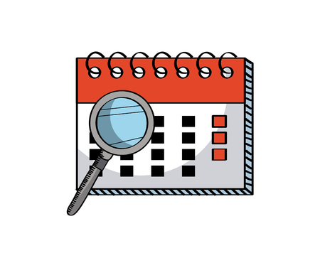 calendar and magnifying glass icon over white background. colorful design. vector illustration