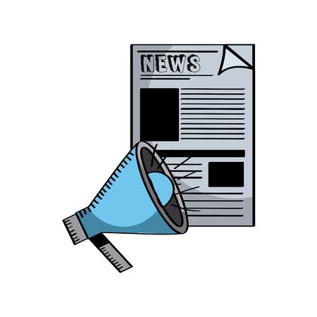 白い背景の上の新聞とメガホン アイコン。カラフルなデザイン。ベクトル図
