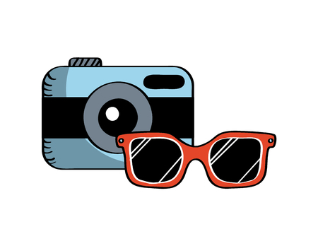 camera and glasses icon over white background. colorful design. vector illustration