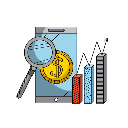 icons site search: magnifying glass and smartphone and graphic chart icon over white background. colorful design. vector illustration