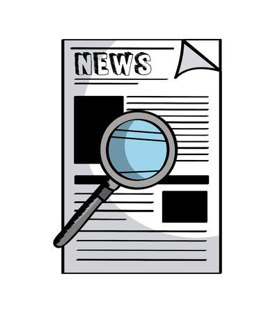 白い背景の上の新聞と虫眼鏡アイコン。カラフルなデザイン。ベクトル図