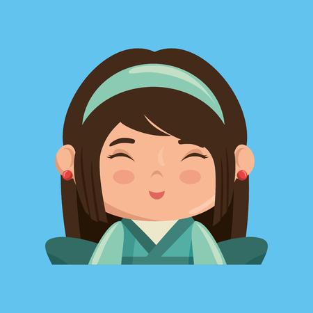 cute japanese girl character vector illustration design