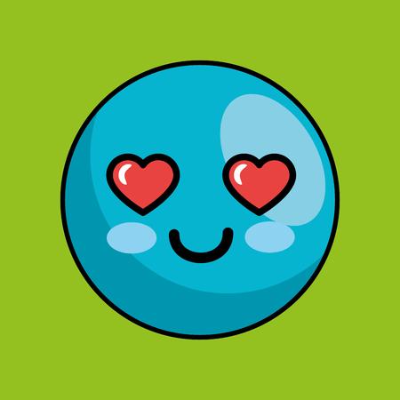 cute face kawaii style vector illustration design