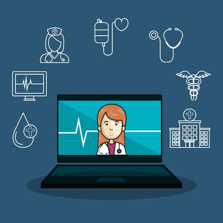 医学オンライン フラット アイコン ベクトル イラスト デザイン