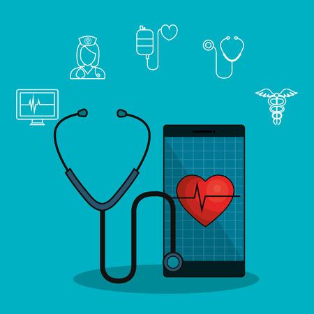 medicina online piatto icone illustrazione vettoriale di progettazione