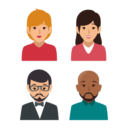 businesspeople character avatar icon vector illustration design Иллюстрация