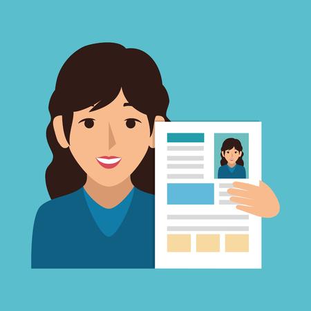 representative: businesswoman character with curriculum vector illustration design Illustration