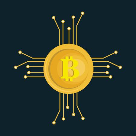 bitcoins trading flat icons vector illustration design Illustration