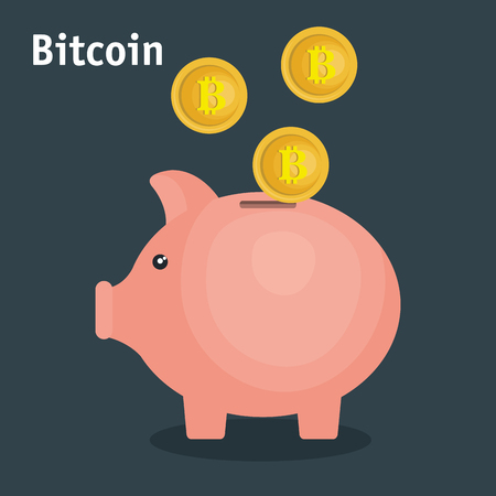 bitcoins trading flat icons vector illustration design Illustration