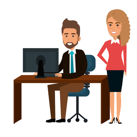 Businesspeople in training process vector illustration design