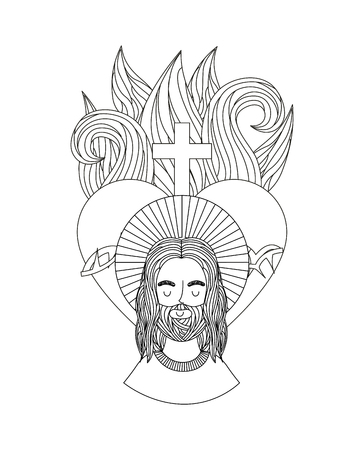 jesus christ man and sacred heart icon over white background. vector illustration
