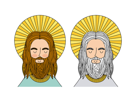 jesus christ and god icon over white background. colorful design. vector illustration
