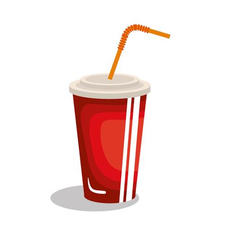 el vidrio de soda con la paja ilustración vectorial de diseño