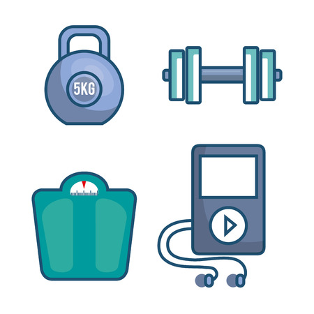 Fitness lifestyle elements icons vector illustration design.