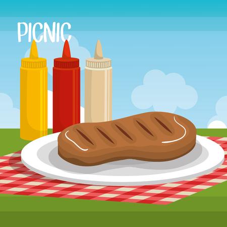 vista: Colorful delicious picnic scene icons vector illustration design.