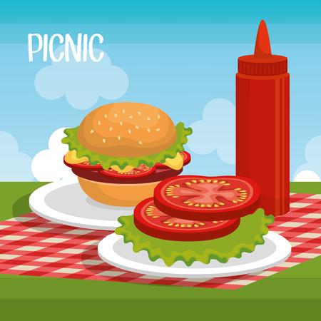Artistic concept of delicious picnic scene icons vector illustration design Illustration