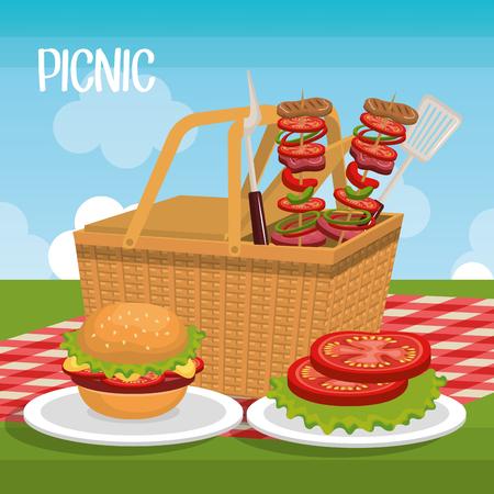 vista: delicious picnic scene icons vector illustration design