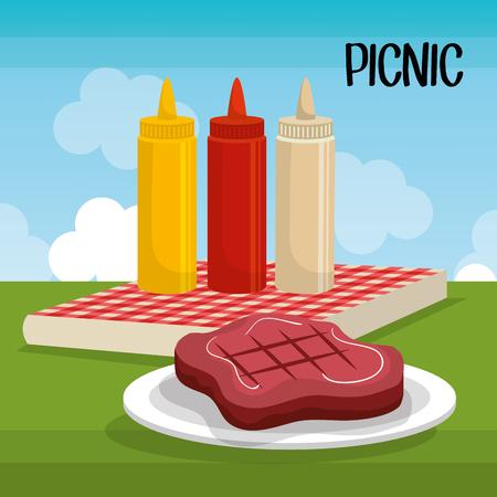 vista: Isolated delicious picnic scene icons vector illustration design. Illustration