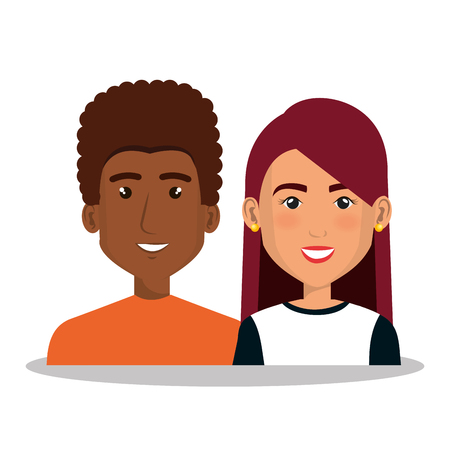 Jonge mensen avatars groep vector illustratie ontwerp