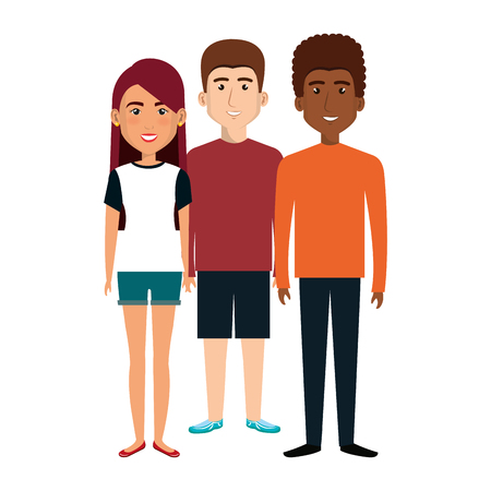 young people avatars group vector illustration design