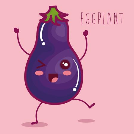fresh eggplant vegetable character vector illustration design