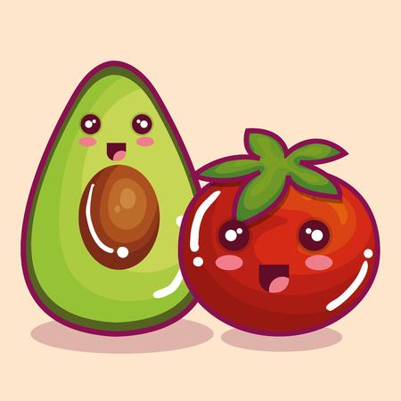 Cute fresh vegetable funny character vector illustration design.