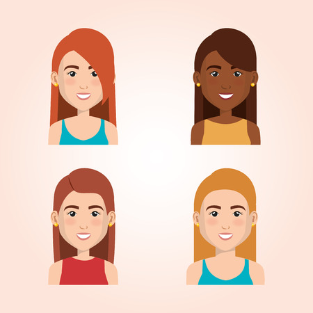 Set of young people avatars group vector illustration design Illustration