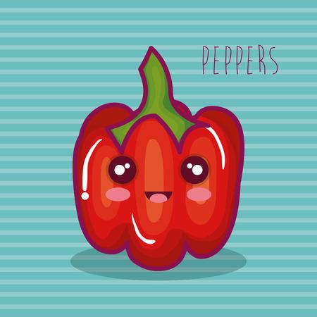 fresh peppers vegetable character vector illustration design Illustration