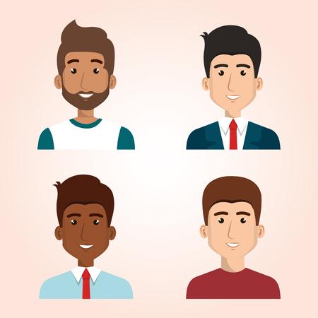 Set van jonge mensen avatars groep vector illustratie ontwerp Vector Illustratie