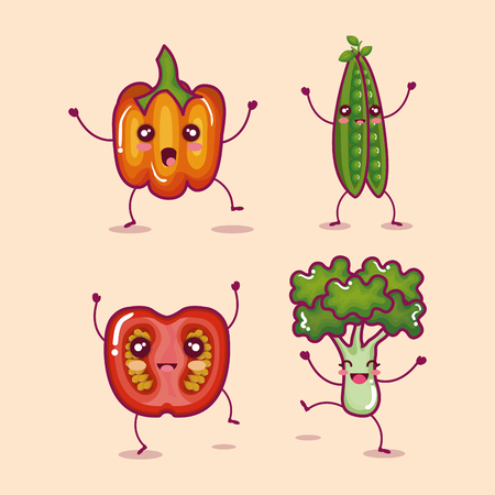 fresh vegetable funny character vector illustration design