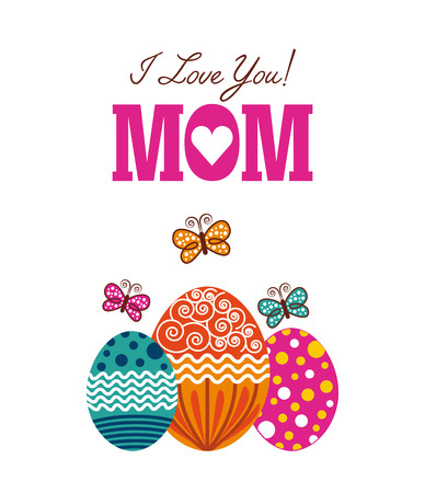 happy Mothers day card with easter eggs icon over white background. colorful design. vector illustration