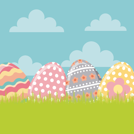 easter eggs over sky bakcgorund. happy easter. colorful design. vector illustration Illustration