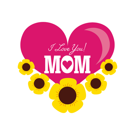 happyMothers day card with heart icon. colorful design. vector illustration