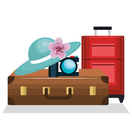 travel bag, hat and potographic camera, vacation concept Illustration