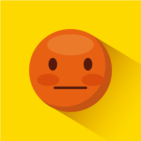 emoticon inexpressive face icon over yellow background. colorful design. vector illustration