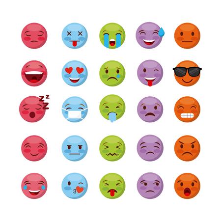 emoticons faces over white background. colorful design. vector illustration Illustration