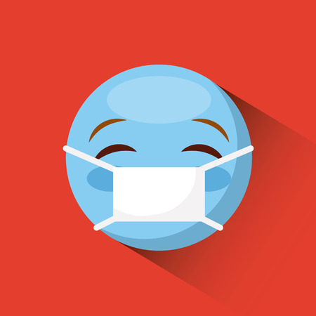 emoticon face with medical mask icon over red background. colorful design. vector illustration