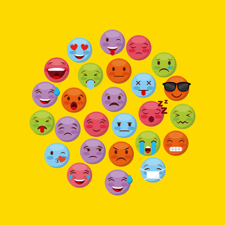 emoticons faces in circle shape over yellow background. vector illustration
